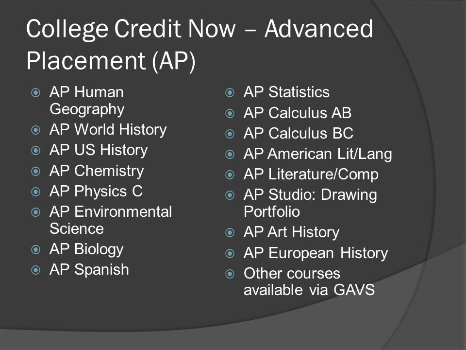 College Credit Now – Advanced Placement (AP)