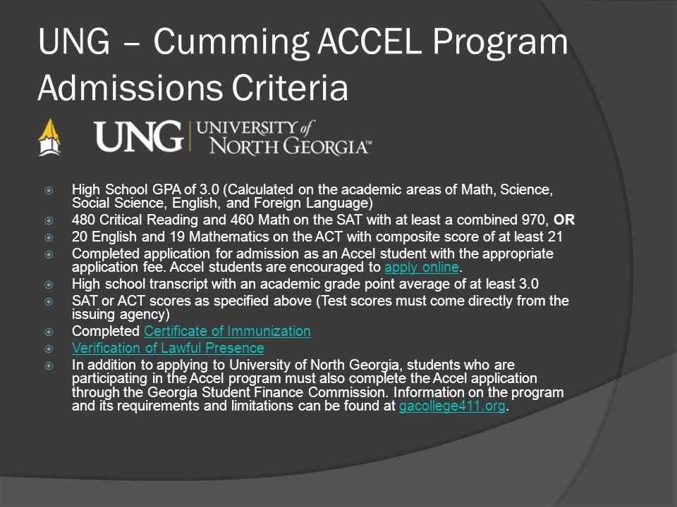 UNG – Cumming ACCEL Program Admissions Criteria