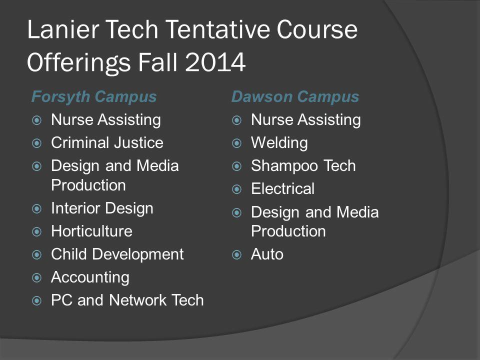 Lanier Tech Tentative Course Offerings Fall 2014