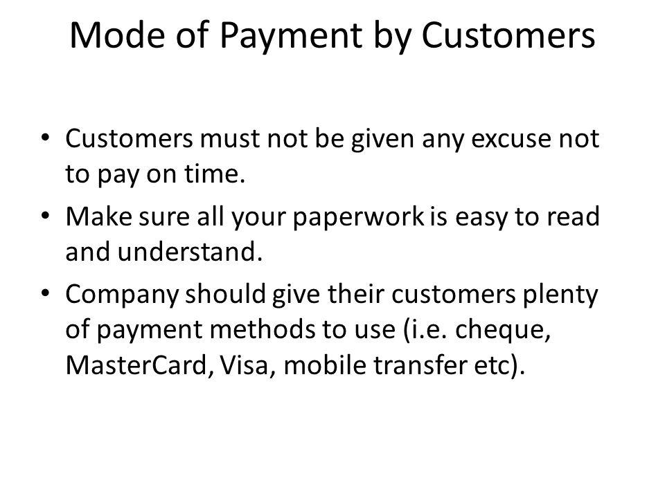 Mode of Payment by Customers