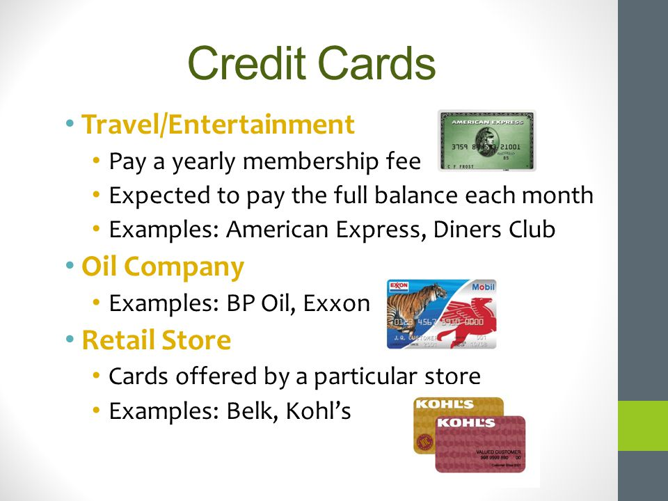 Credit Cards Travel/Entertainment Oil Company Retail Store