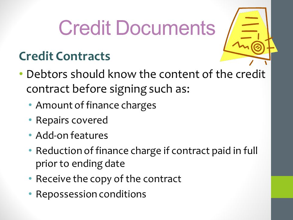 Credit Documents Credit Contracts