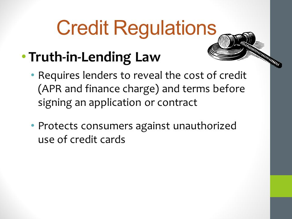 Credit Regulations Truth-in-Lending Law