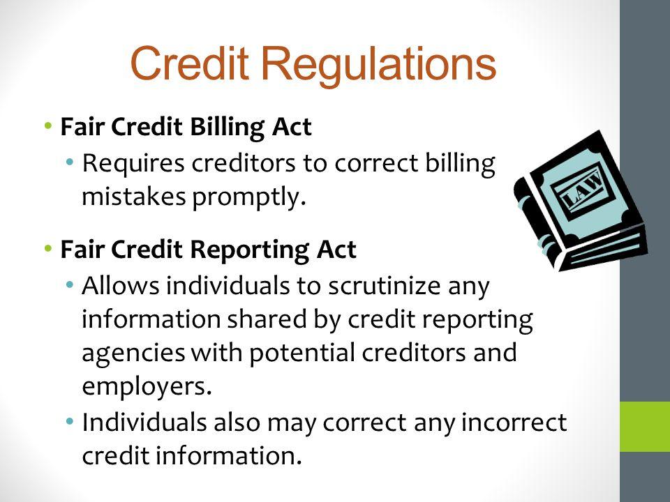 Credit Regulations Fair Credit Billing Act