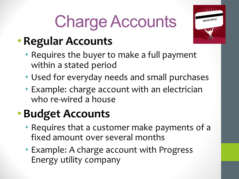 Charge Accounts Regular Accounts Budget Accounts