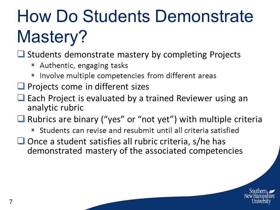 How Do Students Demonstrate Mastery