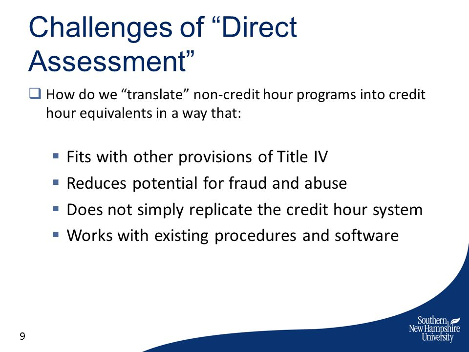 Challenges of Direct Assessment