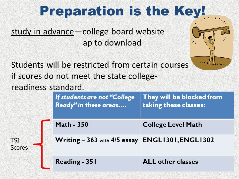 Preparation is the Key! study in advance—college board website