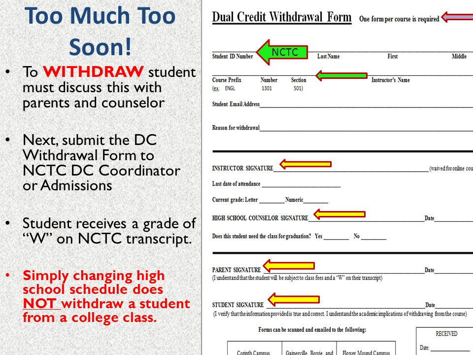 Too Much Too Soon! NCTC. To WITHDRAW student must discuss this with parents and counselor.