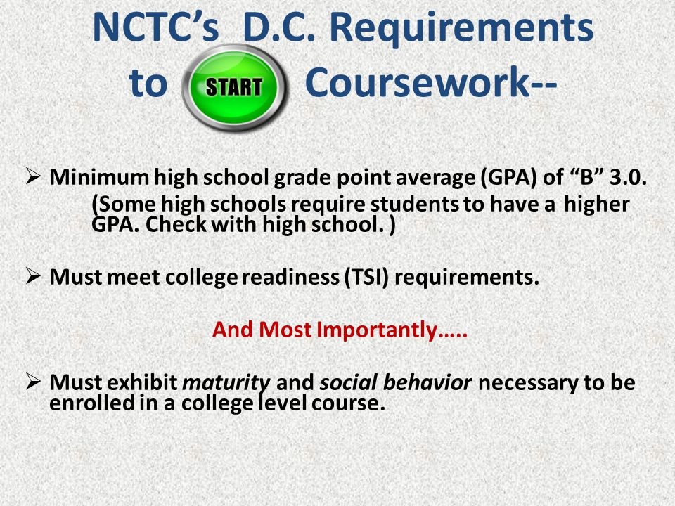 NCTC's D.C. Requirements to Coursework--
