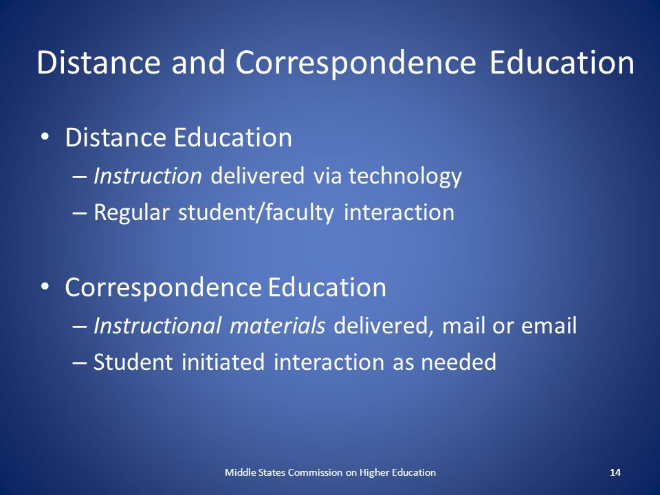 Distance and Correspondence Education