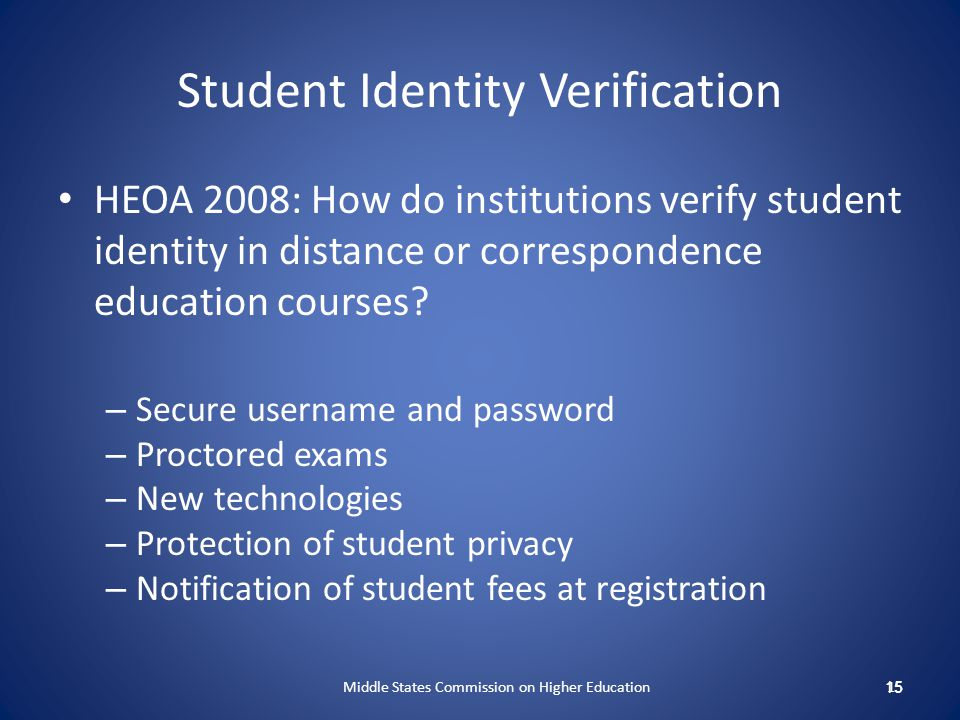Student Identity Verification