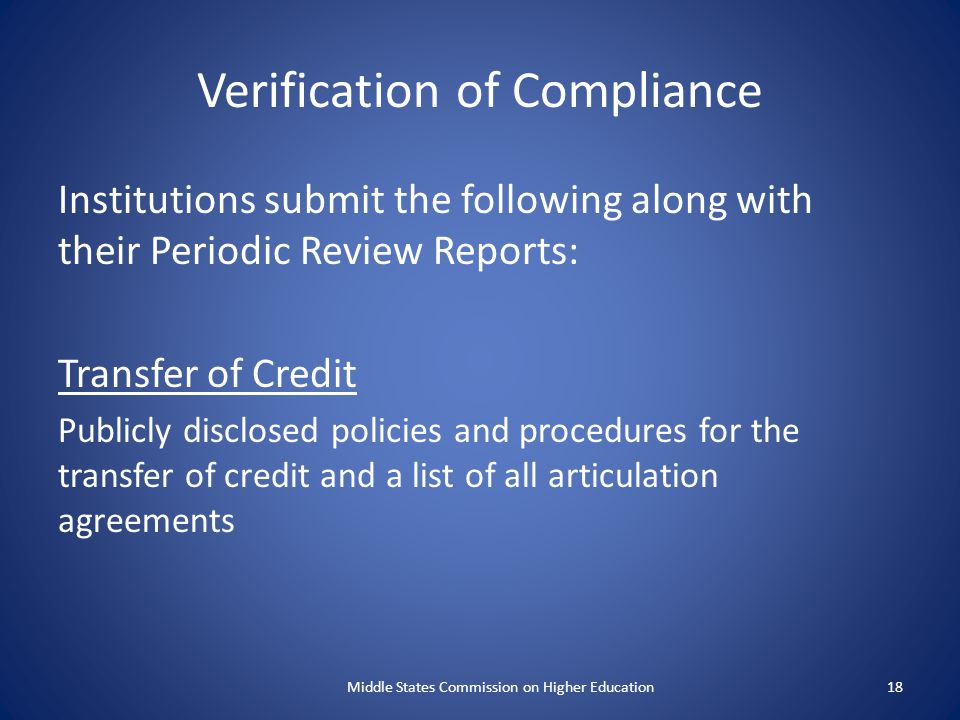Verification of Compliance