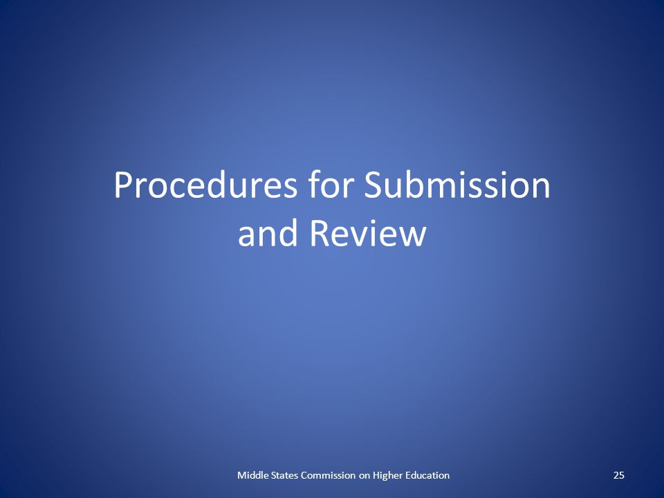 Procedures for Submission and Review