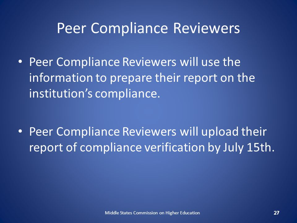 Peer Compliance Reviewers