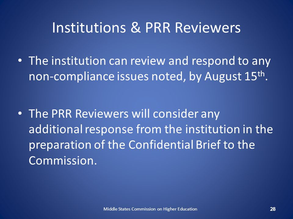 Institutions & PRR Reviewers