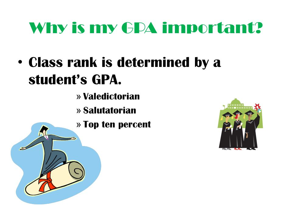 Why is my GPA important Class rank is determined by a student's GPA.