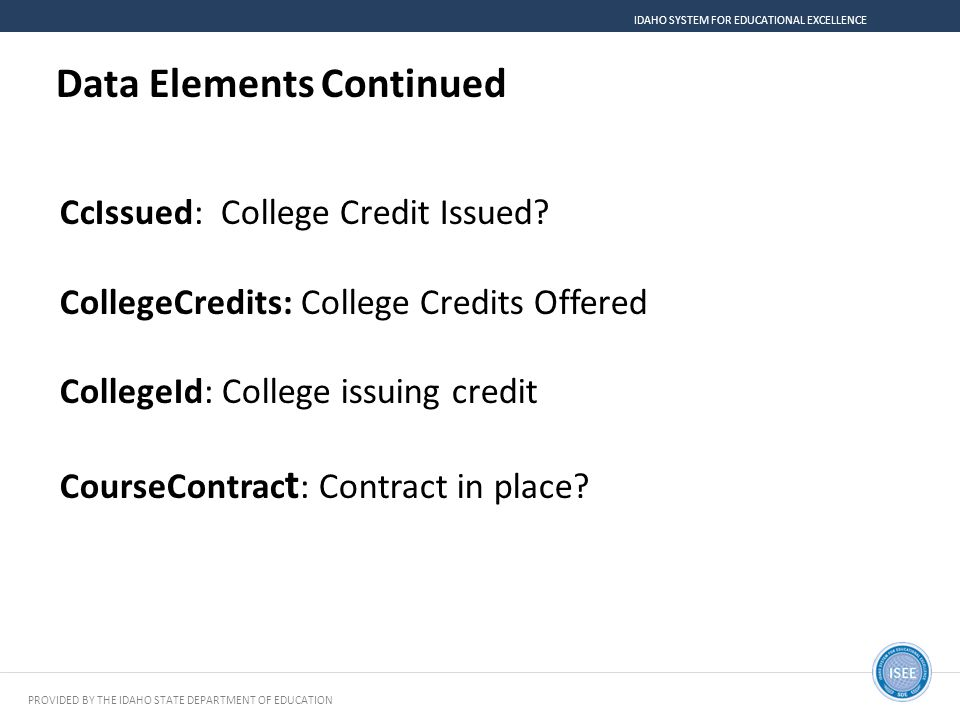 Data Elements Continued