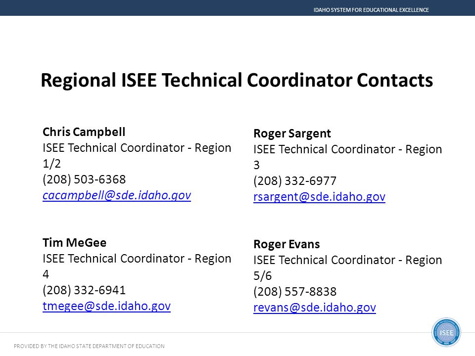 Regional ISEE Technical Coordinator Contacts