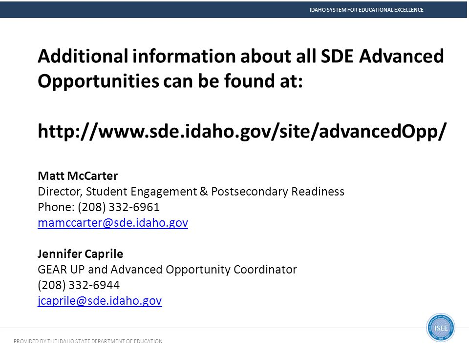 Idaho System for educational excellence