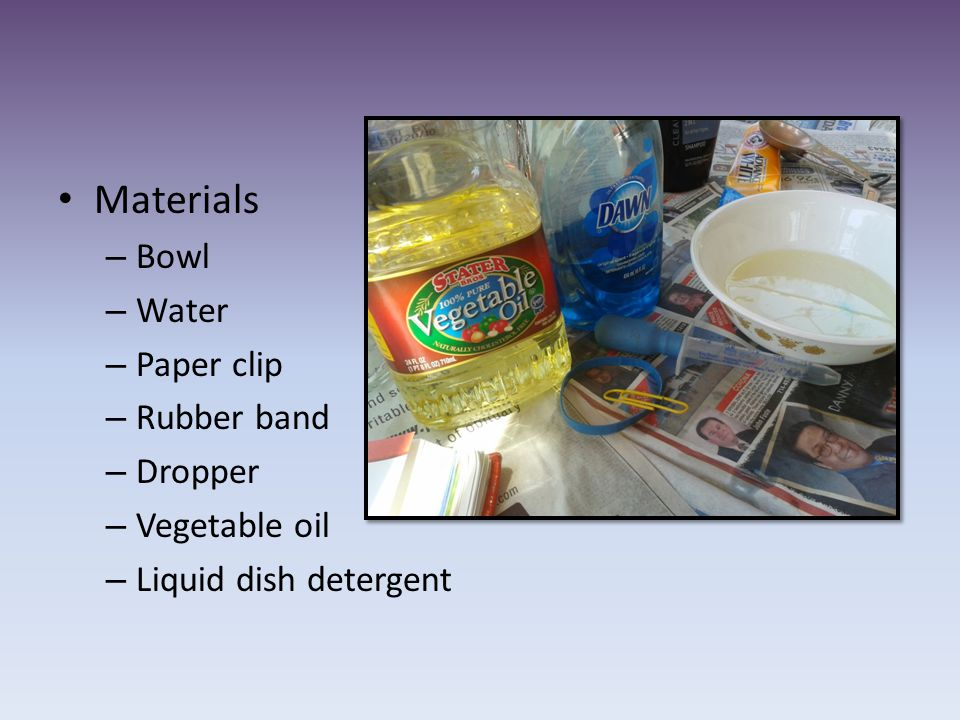 Materials Bowl Water Paper clip Rubber band Dropper Vegetable oil