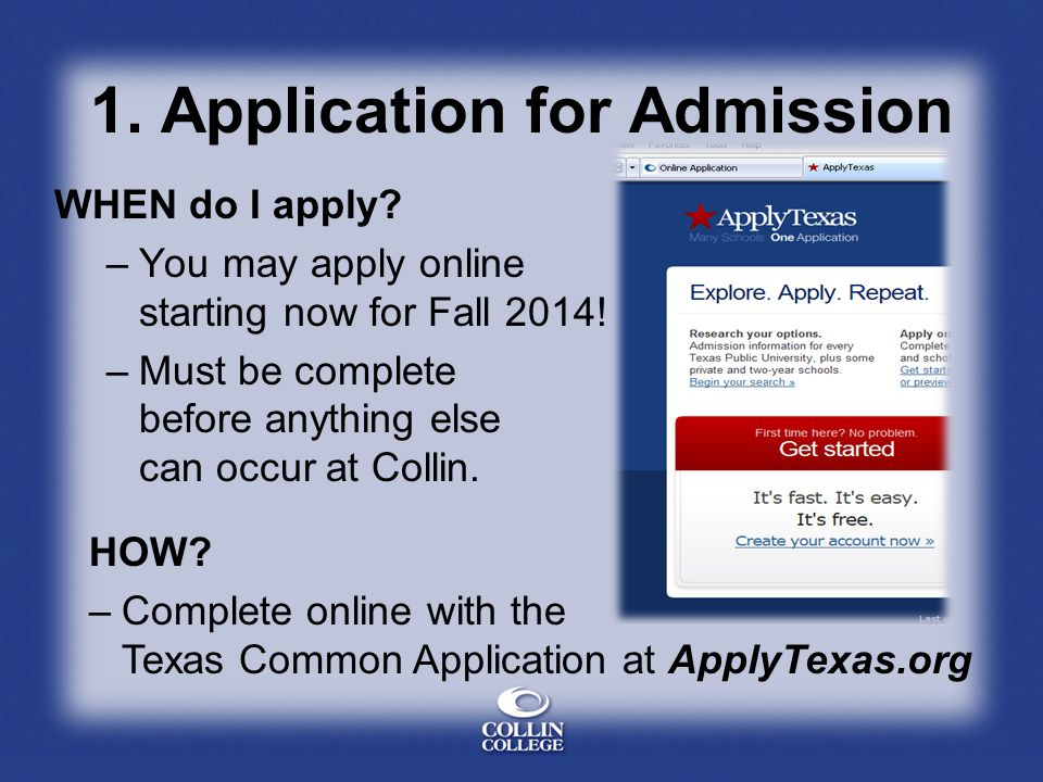 1. Application for Admission