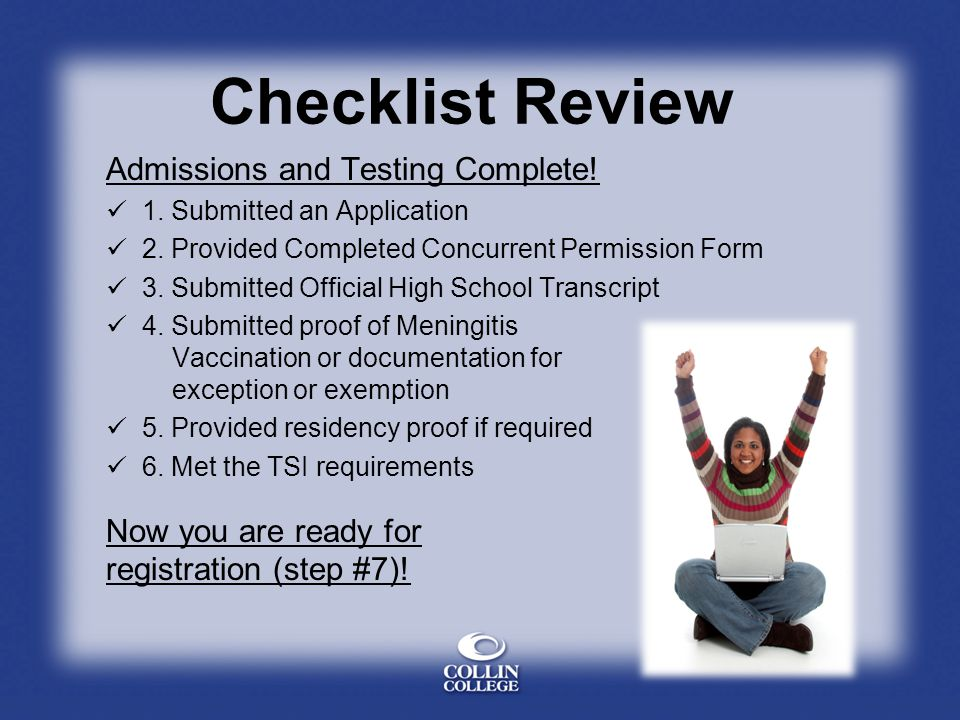 Checklist Review Admissions and Testing Complete!