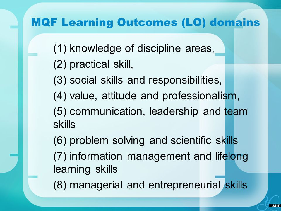 MQF Learning Outcomes (LO) domains