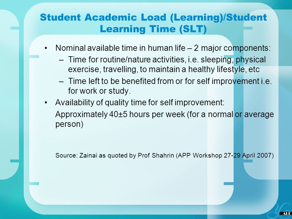 Student Academic Load (Learning)/Student Learning Time (SLT)