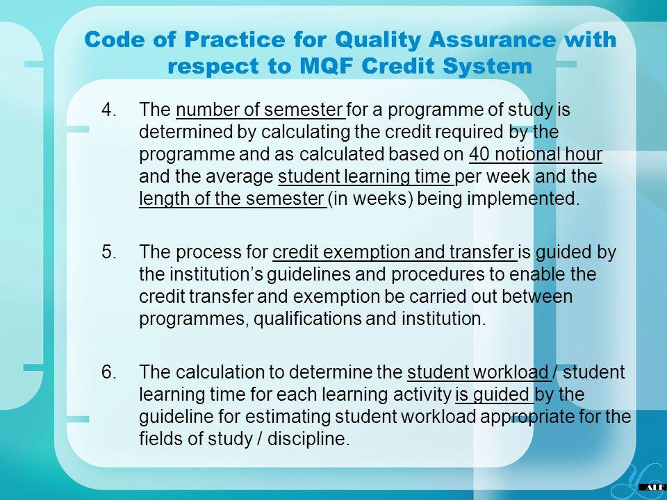 Code of Practice for Quality Assurance with respect to MQF Credit System