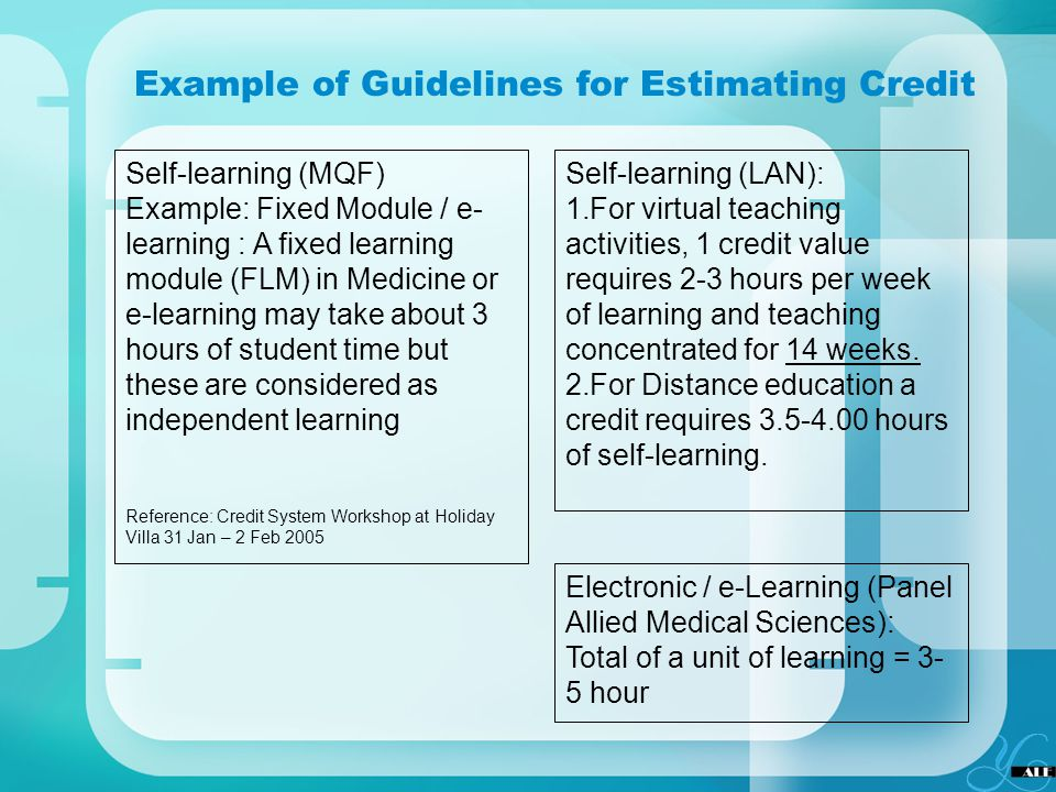 Example of Guidelines for Estimating Credit