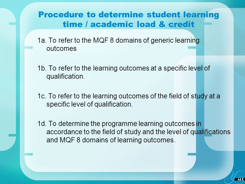 Procedure to determine student learning time / academic load & credit
