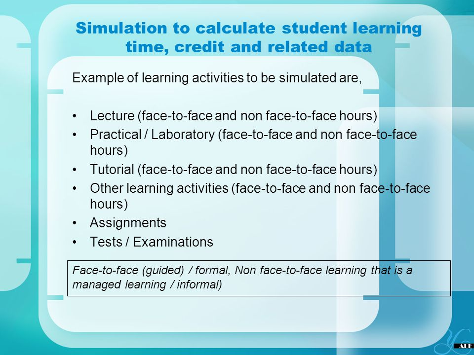 Simulation to calculate student learning time, credit and related data