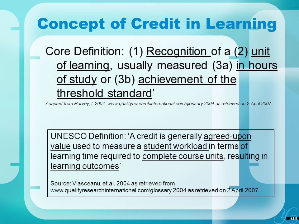 Concept of Credit in Learning