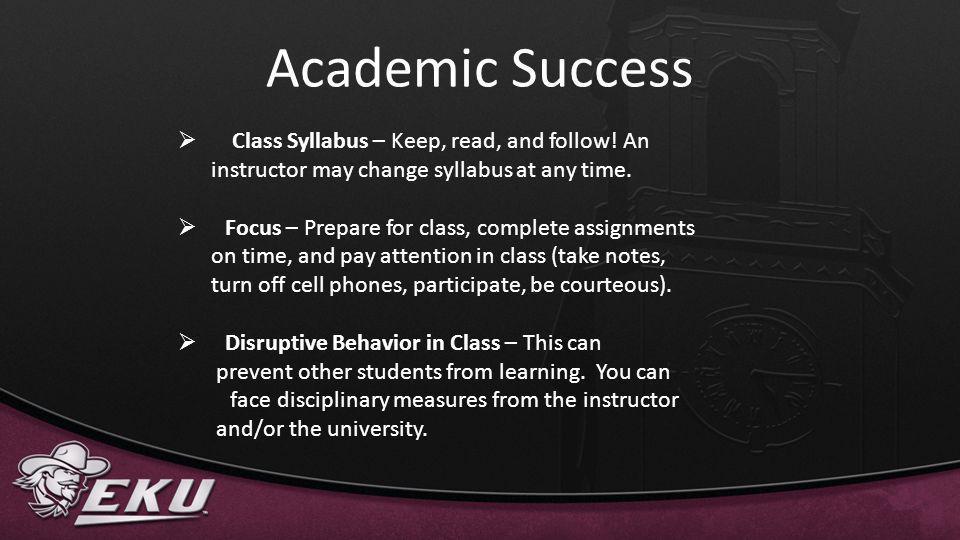 Academic Success Class Syllabus – Keep, read, and follow! An