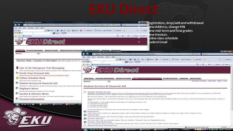 EKU Direct Registration, drop/add and withdrawal