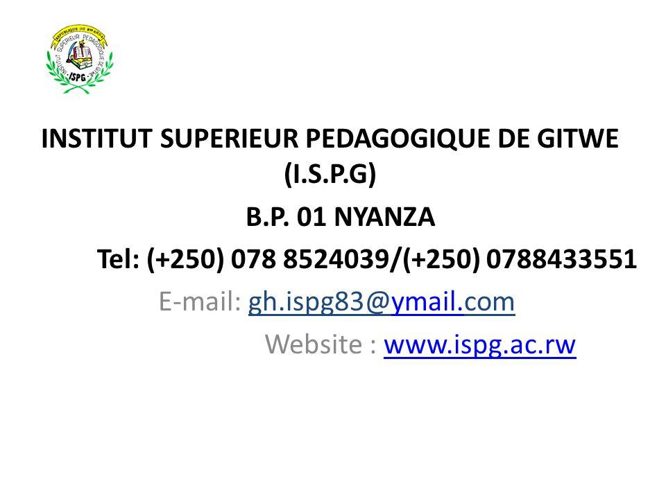 INSTITUT SUPERIEUR PEDAGOGIQUE DE GITWE (I.S.P.G)