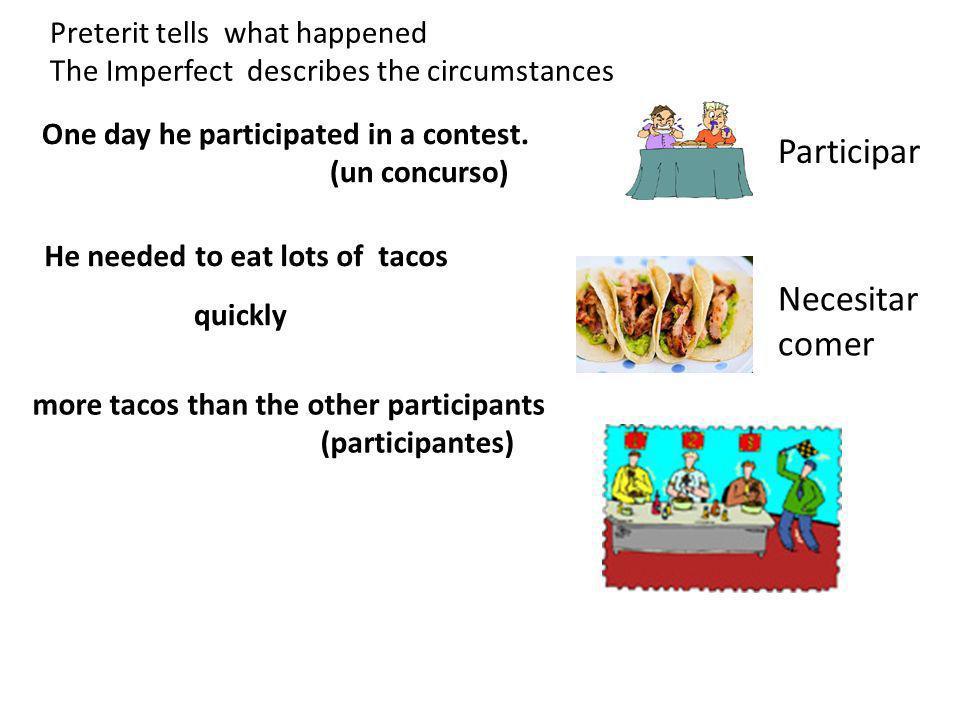 Participar Necesitar comer Preterit tells what happened