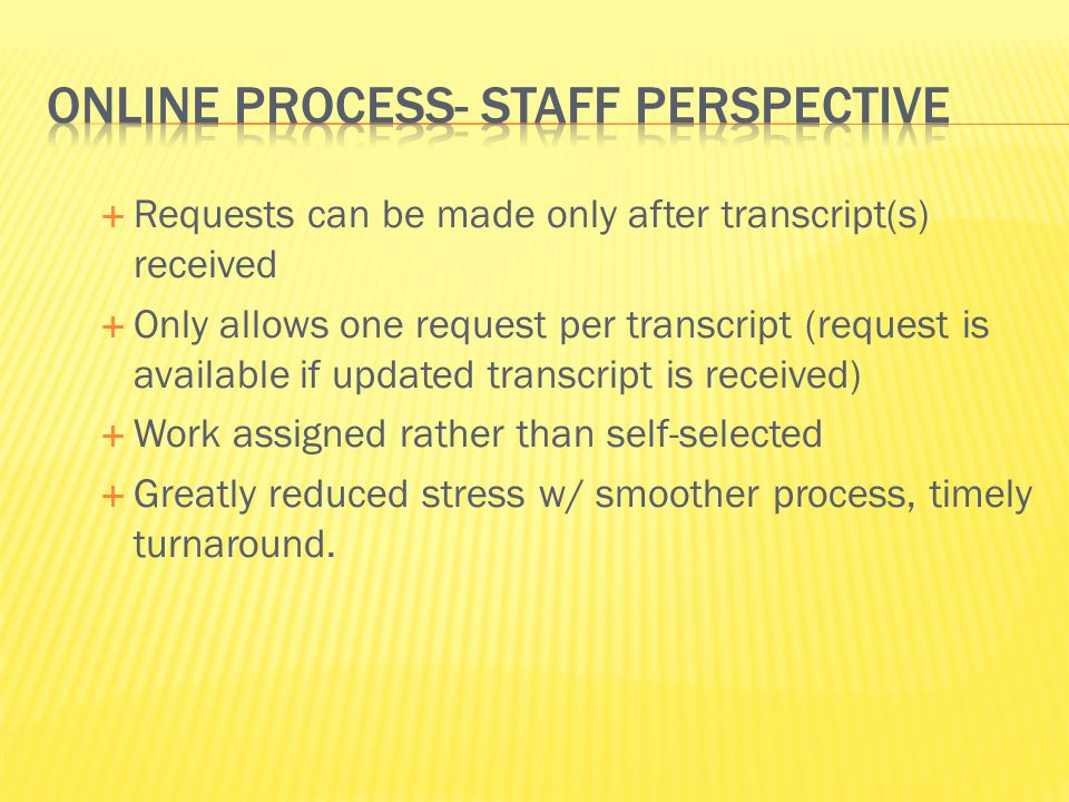 Online process- staff perspective