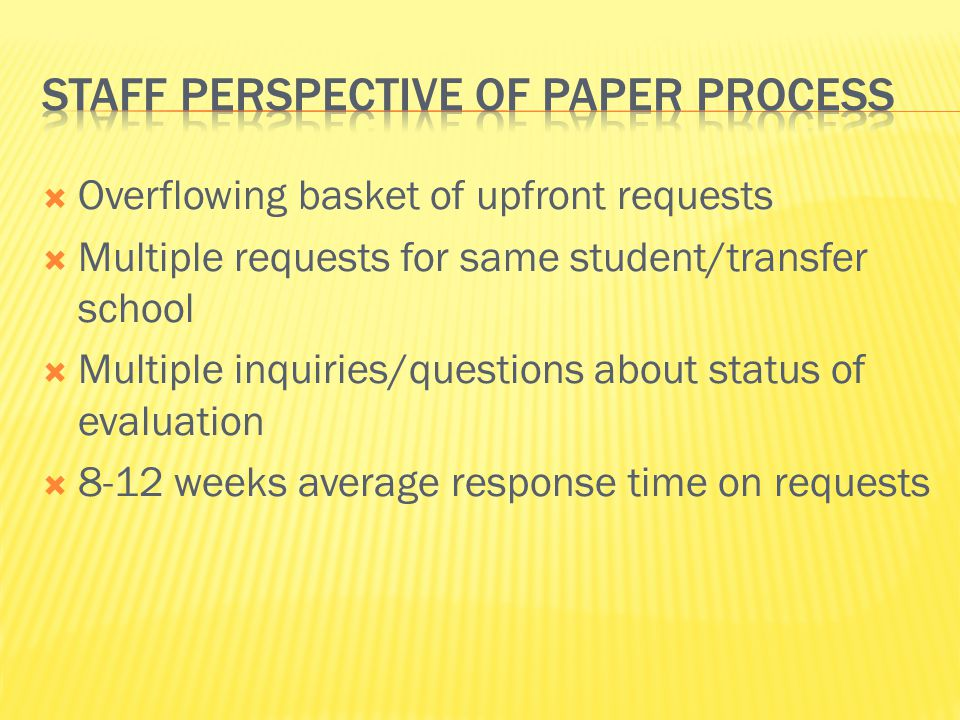 Staff perspective of Paper process