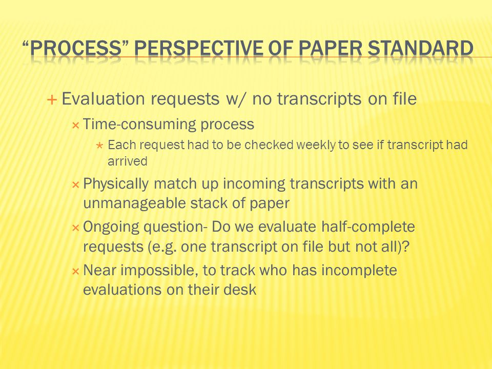 Process Perspective of paper standard