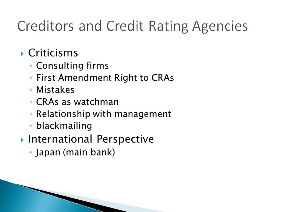 Creditors and Credit Rating Agencies