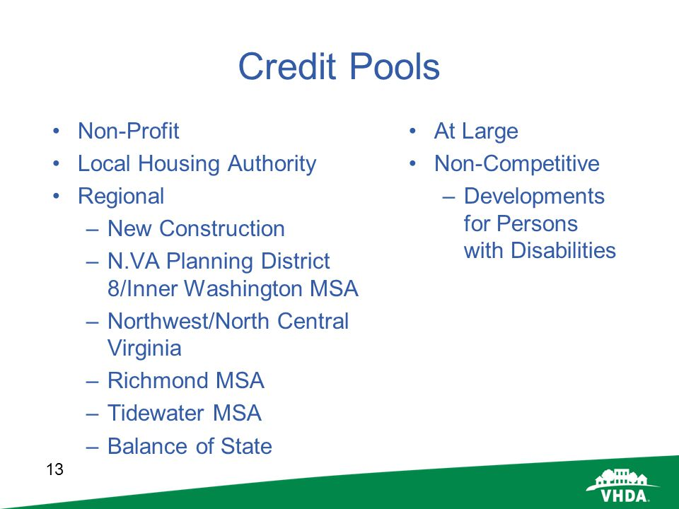 Credit Pools Non-Profit Local Housing Authority Regional