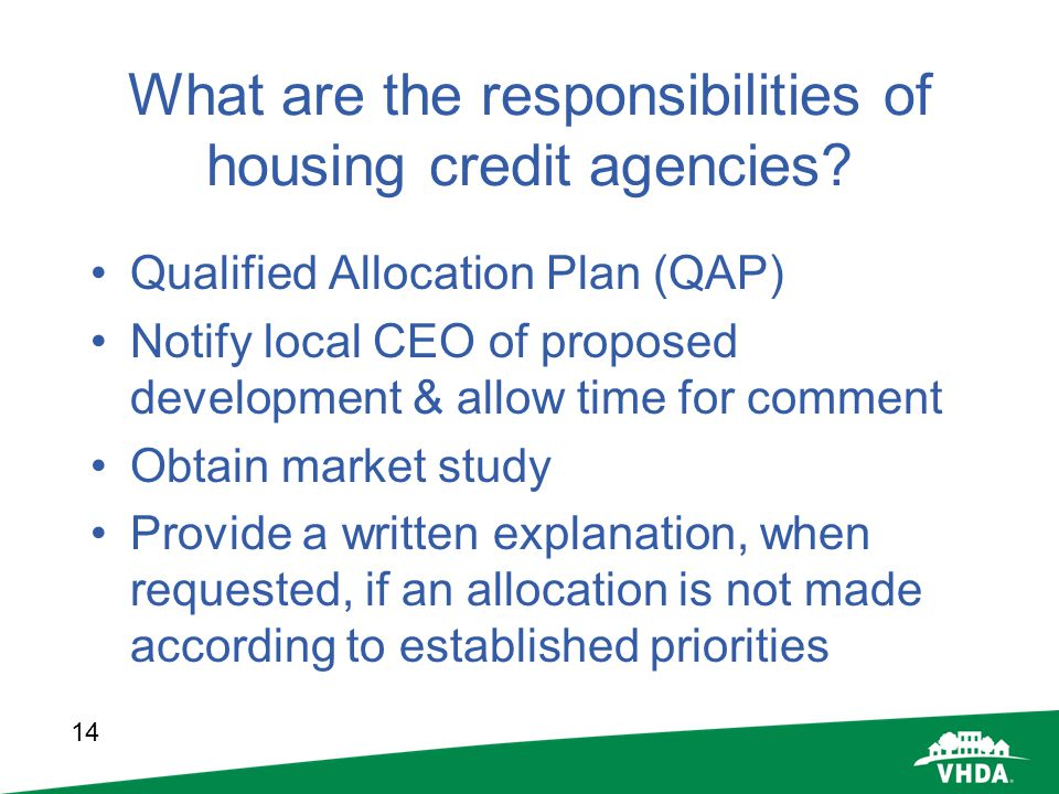 What are the responsibilities of housing credit agencies