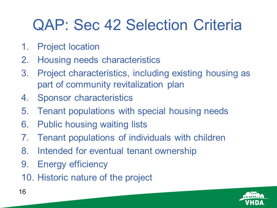 QAP: Sec 42 Selection Criteria