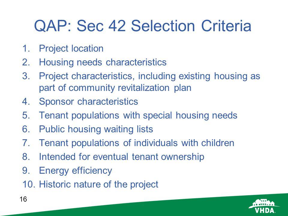 QAP: Sec 42 Selection Criteria