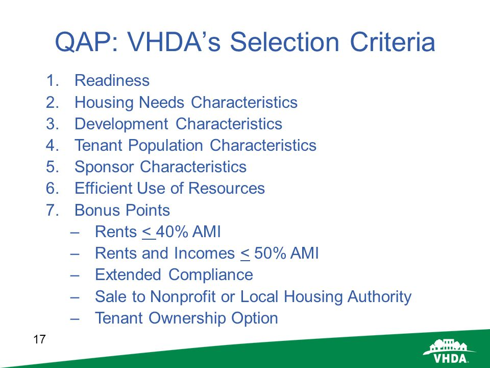 QAP: VHDA's Selection Criteria