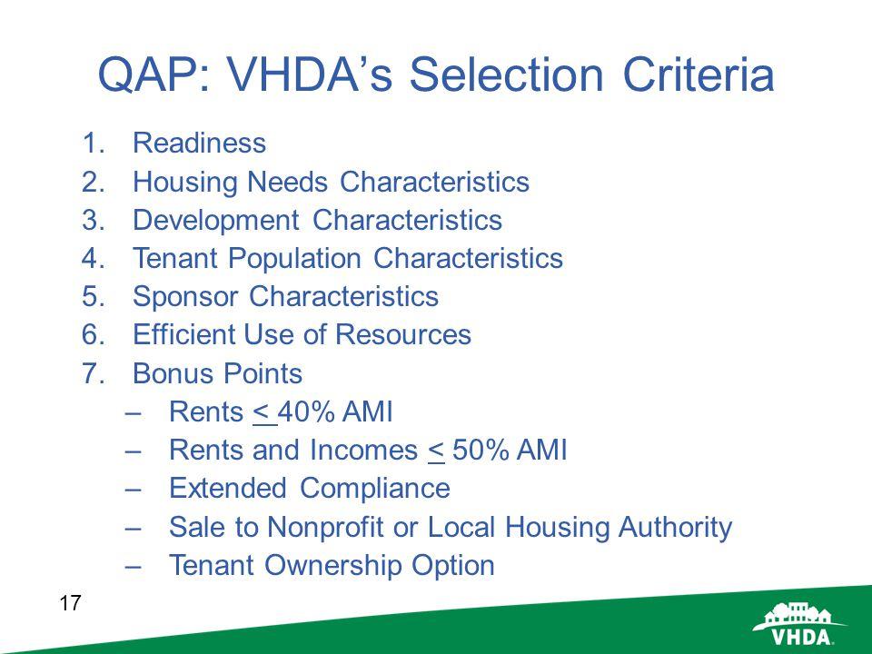 QAP: VHDA's Selection Criteria
