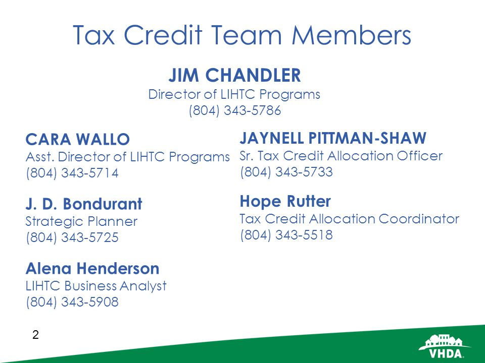 Tax Credit Team Members