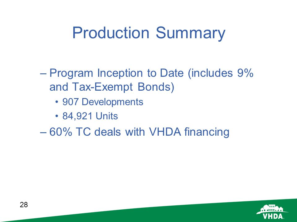 Production Summary Program Inception to Date (includes 9% and Tax-Exempt Bonds) 907 Developments. 84,921 Units.